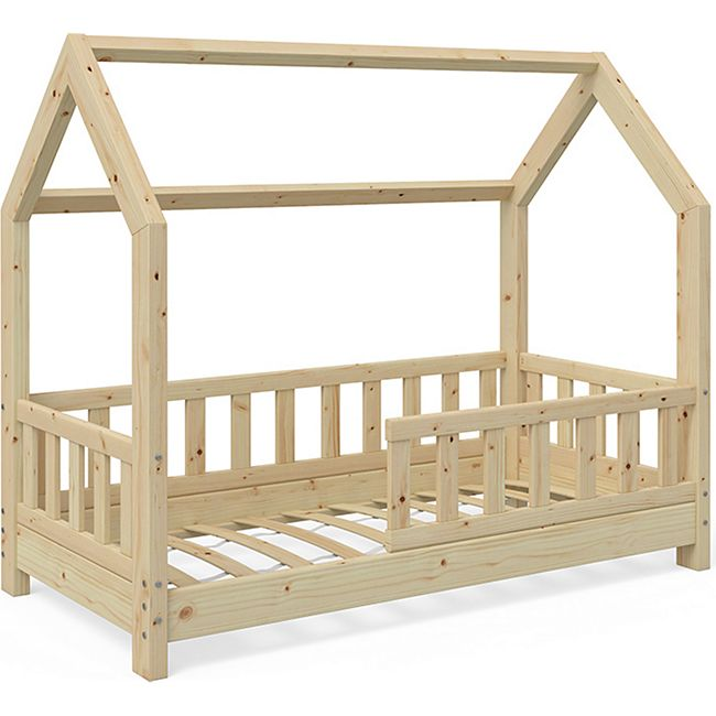 VitaliSpa Kinderbett Kinderhaus Bett Holz Zaun Schlafen Spielbett Hausbett 70x140cm - Bild 1