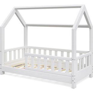 VitaliSpaHausbett WIKI 70x140cm Zaun Weiß Kinderbett Kinderhaus Kinder Bett Holz - Bild 1