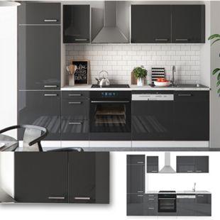 Vicco Küche 270 cm Küchenzeile Küchenblock Einbauküche  Anthrazit Hochglanz - Bild 1