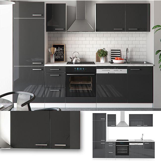 Vicco Küche 270 cm Küchenzeile Küchenblock Einbauküche Anthrazit Hochglanz