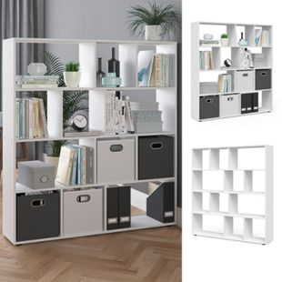 Vicco Raumteiler Pilar Bücherregal Standregal Büroregal 12 Fächer Weiß - Bild 1