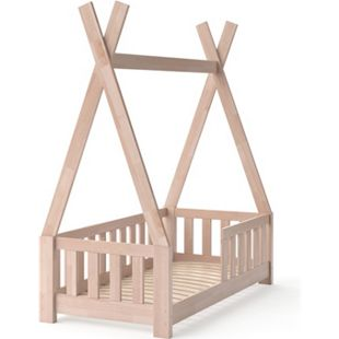VitaliSpa Kinderbett Tipi Hausbett Indianer Bett Kinderhaus Massivholz Zelt Holz mit Zaun 70x140 cm - Bild 1