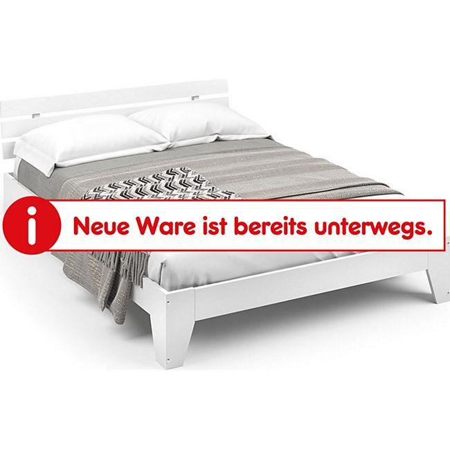Vicco Holzbett Korfu Futonbett Kiefer Doppelbett Bett Massivholz 140x200cm Weiß  + Matratze - Bild 1