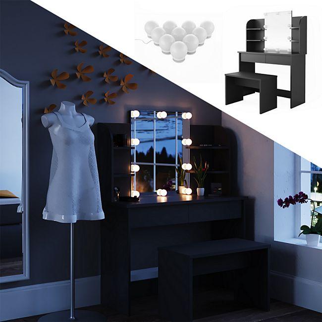 Vicco Schminktisch Charlotte Frisiertisch Kommode Frisierkommode Spiegel Schwarz inklusive Bank und LED-Lichterkette - Bild 1