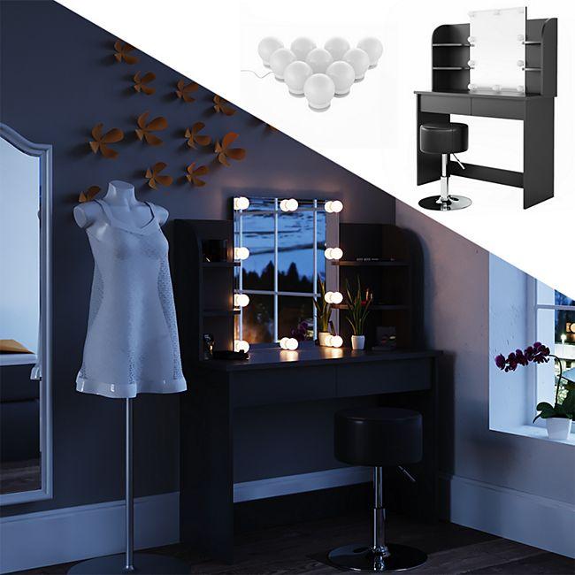 Vicco Schminktisch Charlotte Frisiertisch Kommode Frisierkommode Spiegel Schwarz inklusive Hocker und LED-Lichterkette - Bild 1