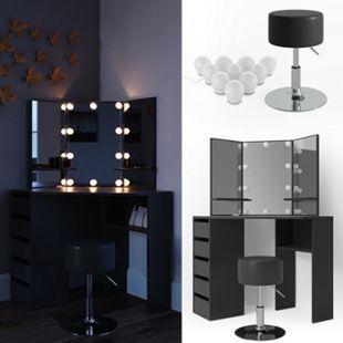 Vicco Schminktisch Arielle Frisiertisch Kommode Frisierkommode Spiegel Schwarz inklusive Hocker und LED-Lichterkette - Bild 1