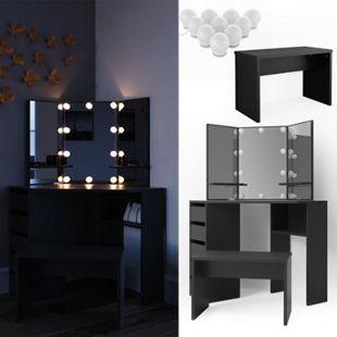 Vicco Eckschminktisch Arielle Frisiertisch Kommode Frisierkommode Spiegel Schwarz inklusive Bank und LED-Lichterkette - Bild 1