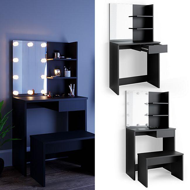 VICCO Schminktisch DEKOS mit LED und Bank Frisierkommode Frisiertisch Spiegel - Bild 1