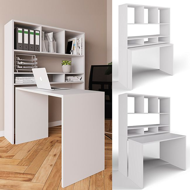 Vicco Schreibtisch Oskar Schreibtisch Bürotisch Arbeitstisch Regal PC Tisch Weiß online kaufen ...