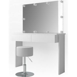 Vicco Schminktisch Azur Kosmetiktisch Frisiertisch Frisierkommode Weiß Hochglanz inklusive Sitzhocker, Spiegel und LED-Lichterkette - Bild 1