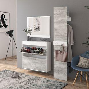 Vicco Flurgarderobe San Remo Garderoben Set Spiegel Schuhschrank Wandpaneel Flur Weiß Beton - Bild 1