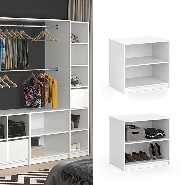 Vicco Kommode Visit Kleiderschrank Sideboard Regal Umkleide zweigeteilt Weiß - Bild 1
