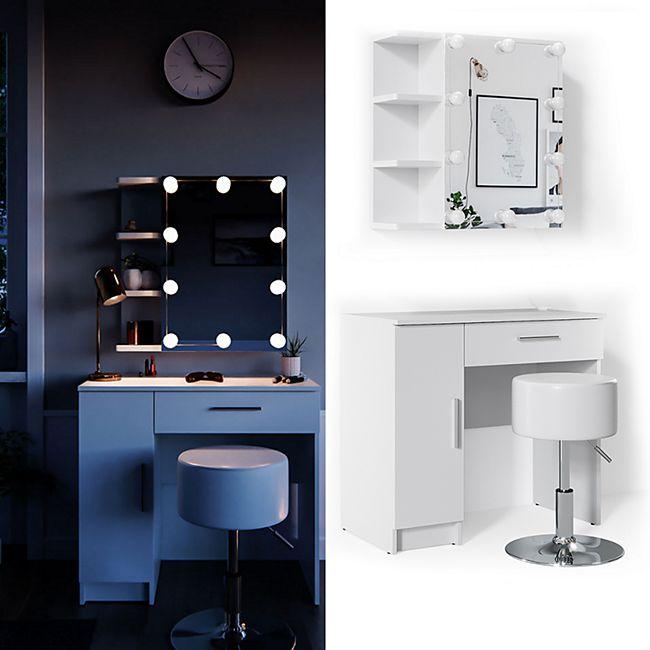 Vicco Schminktisch Fynnia Frisiertisch Kommode Frisierkommode Spiegel Weiß inklusive Hocker und LED-Lichterkette - Bild 1