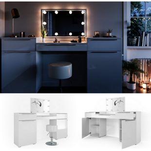 Vicco Schminktisch Lilli Frisiertisch Kommode Frisierkommode Spiegel Weiß inklusive Hocker und LED-Lichterkette - Bild 1
