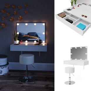 Vicco Schminktisch Alessia Frisiertisch Kommode Frisierkommode Spiegel Weiß inklusive Hocker und LED-Lichterkette - Bild 1