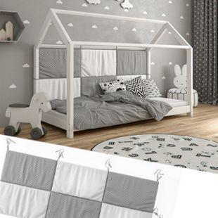 Hausbett Kinderbett Bettrückwand Wiki 200x85 Grau-Weiß - Bild 1