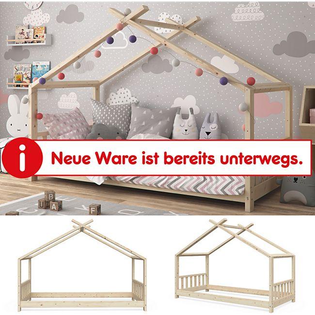 VitaliSpa Kinderbett Design unbehandelt Hausbett Kinderhaus Natur unbehandelt 90x200 - Bild 1