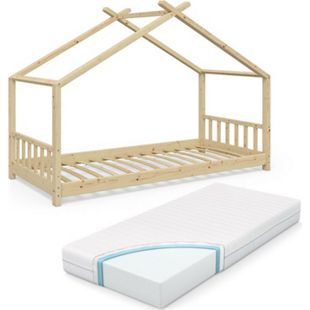 VitaliSpa Kinderbett Design Hausbett Kinder Bett Holz Haus 90x200cm Natur + Matratze - Bild 1