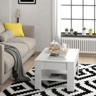 Vicco Couchtisch mit Schublade Beistelltisch Kaffeetisch 110 x 65 cm Weiß - Bild 1