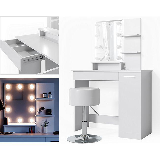Vicco Schminktisch Julia Frisiertisch Kommode Frisierkommode Spiegel Weiß inklusive Hocker und LED-Lichterkette - Bild 1