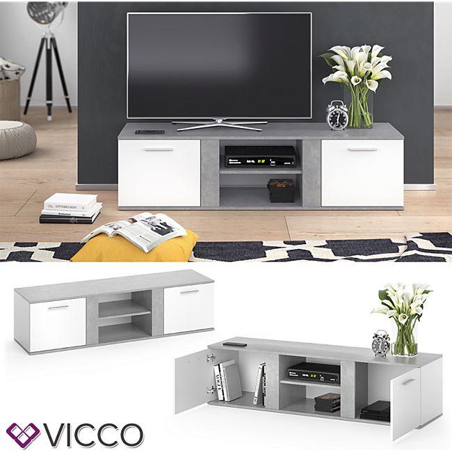 Vicco TV Lowboard Novelli Fernsehschrank Sideboard Fernsehtisch Weiß Beton - Bild 1