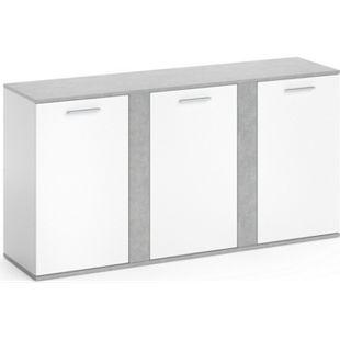 Vicco Sideboard Novelli Highboard Kommode Anrichte Schrank 3 Türen Weiß Beton - Bild 1