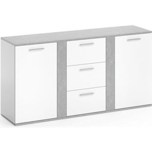 Vicco Sideboard Novelli Highboard Kommode Anrichte Schrank 2 Türen Weiß Beton - Bild 1
