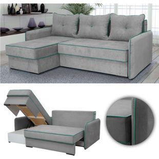 VitaliSpa Ecksofa KANSAS Schlaffunktion Grau - Couch Schlafsofa Bett Eckcouch Taschenfederkern Sofa - Bild 1