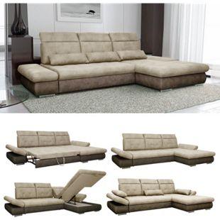 VitaliSpa Ecksofa HAMPTON Schlaffunktion Couch Schlafsofa Bett Bettkasten Taschenfederkern Sofa XXL - Bild 1