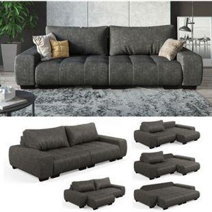 VitaliSpa Sofa PERRY Schlaffunktion - Anthrazit Couch Schlafsofa Schumstoff Grau - Bild 1