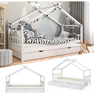 VitaliSpa Kinderbett Design Hausbett mit Schubladen und Lattenrost 90x200cm Weiß - Bild 1