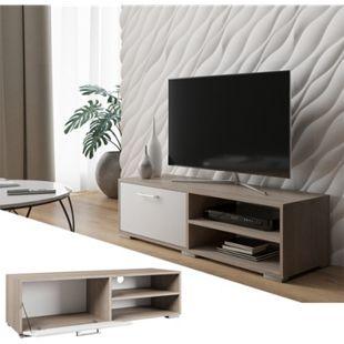Vicco Lowboard Kamilla Fernsehschrank Sideboard TV Fernsehtisch Sonoma Weiß - Bild 1