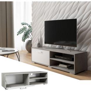 Vicco Lowboard Kamilla Fernsehschrank Sideboard TV Fernsehtisch Sonoma Weiß / Beton - Bild 1