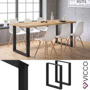 Vicco Tischbeine Loft Tischkufen pulverbeschichtet 2er Set 72x60 cm - Bild 1