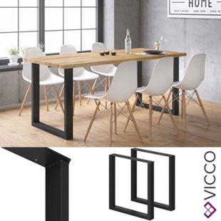 Vicco Tischbeine Loft Tischkufen pulverbeschichtet 2er Set 72x70 cm - Bild 1