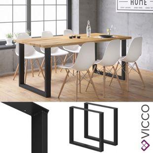 Vicco Tischbeine Loft Tischkufen pulverbeschichtet 2er Set 72x80 cm Schwarz - Bild 1