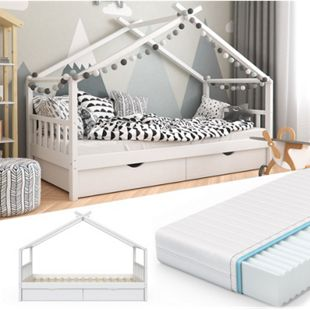 VitaliSpa Kinderbett Design Hausbett mit Schubladen und Lattenrost 90x200cm Weiß + Matratze - Bild 1