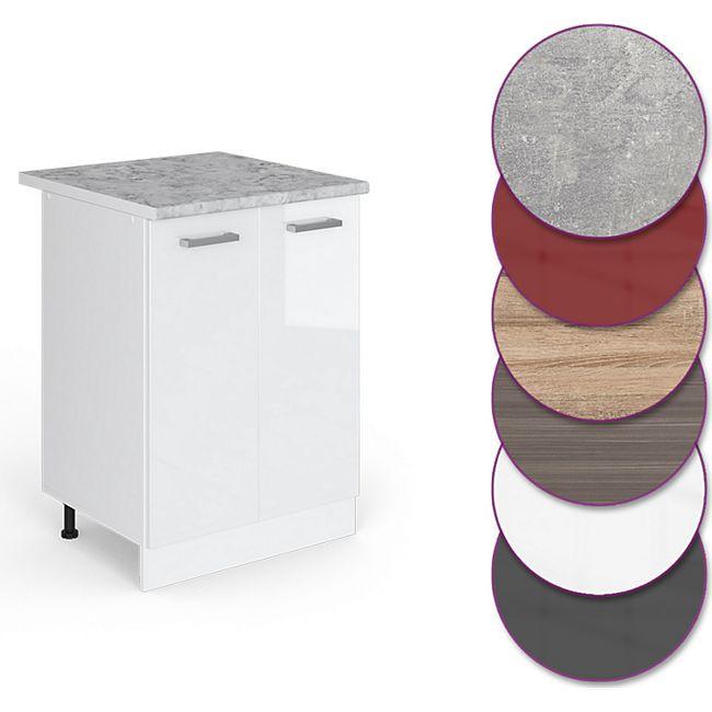 VICCO Unterschrank 60 cm Küchenschrank Küchenzeile Küchenunterschrank  R-Line mit Arbeitsplatte Weiß Hochglanz