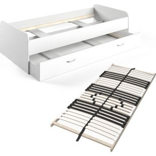 VitaliSpa Bett Enzo Jugendbett mit Gästeliege Funktionsbett 90x200 cm Weiß - Bild 1