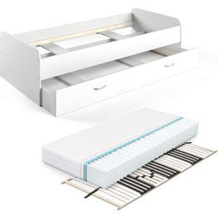 VitaliSpa Bett Enzo Jugendbett mit Gästeliege Funktionsbett 90x200 cm Weiß Lattenrost + Matratze - Bild 1