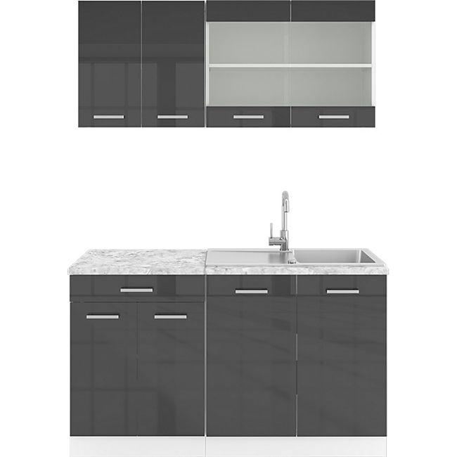 VICCO Küchenzeile SINGLE Einbauküche 140 cm Küche Anthrazit Hochglanz R-LINE - Bild 1