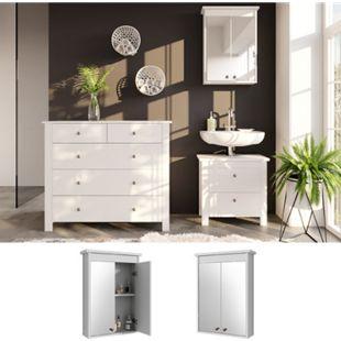 VICCO Spiegelschrank ALBATROS Weiß Spiegel Badspiegel Bad Wandspiegel Badezimmer - Bild 1