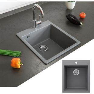 Bergström Granit Spüle Küchenspüle Einbauspüle Spülbecken 425x500mm Grau - Bild 1