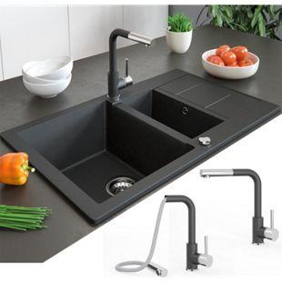 Bergström Armatur Küchenarmatur Spülearmatur Wasserhahn Mischbatterie Schwarz - Bild 1