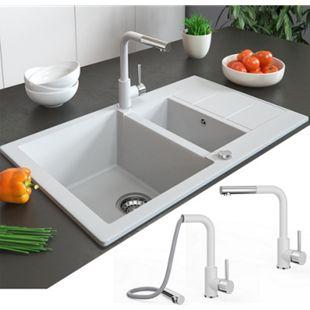 Bergström Armatur Küchenarmatur Spülearmatur Wasserhahn Mischbatterie Weiß - Bild 1