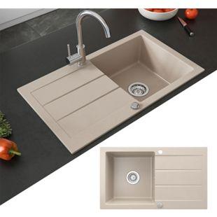 Bergström Spüle Küchenspüle Einbauspüle Spülbecken Granit Beige 440x760mm - Bild 1