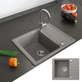 Bergström Granit Spüle Küchenspüle Einbauspüle Spülbecken 575x460mm Beton - Bild 1