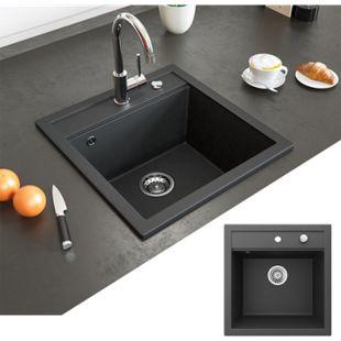 Bergström Granit Spüle Küchenspüle Einbauspüle Spülbecken 490x500mm Schwarz - Bild 1