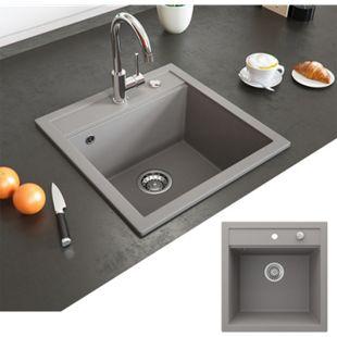 Bergström Granit Spüle Küchenspüle Einbauspüle Spülbecken 490x500mm Beton - Bild 1