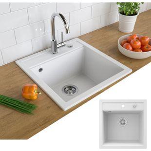 Bergström Granit Spüle Küchenspüle Einbauspüle Spülbecken 490x500mm Weiß - Bild 1
